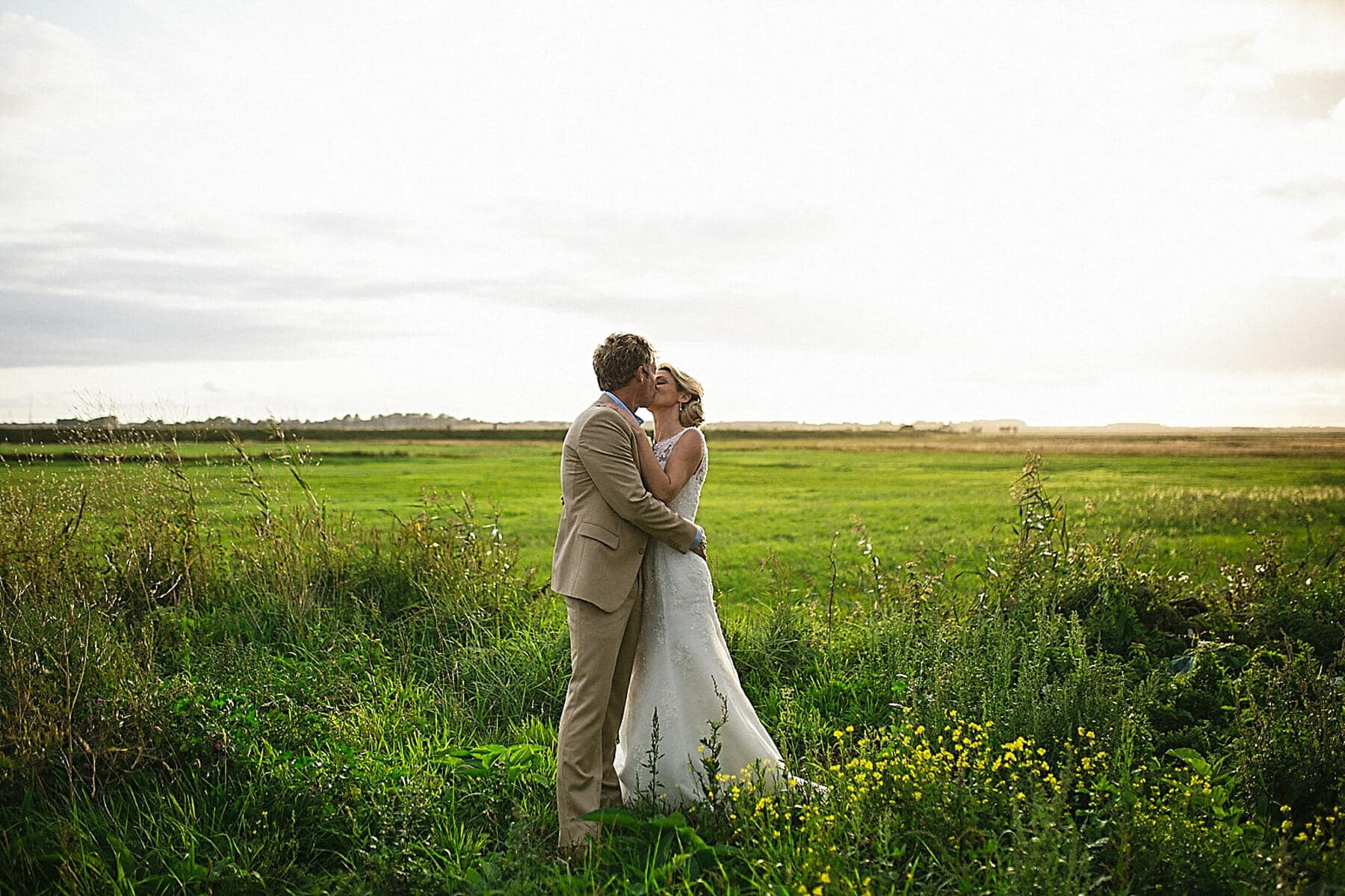 aldeburgh bride and groom wedding portrait in beautiful landscape