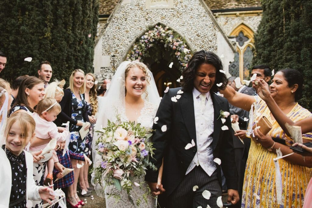Vintage summer wedding St Marys Church Culford Confetti